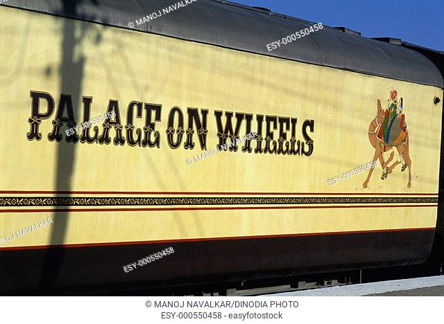 Close up of palace on wheels train at Jaisalmer , Rajasthan , India