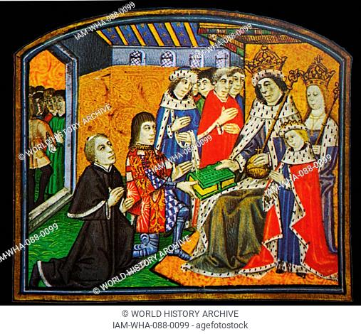 Illumination depicts Anthony Woodville, Earl Rivers, presenting the Dictes and Saying of the Philosophers to his brother-in-law, Edward IV
