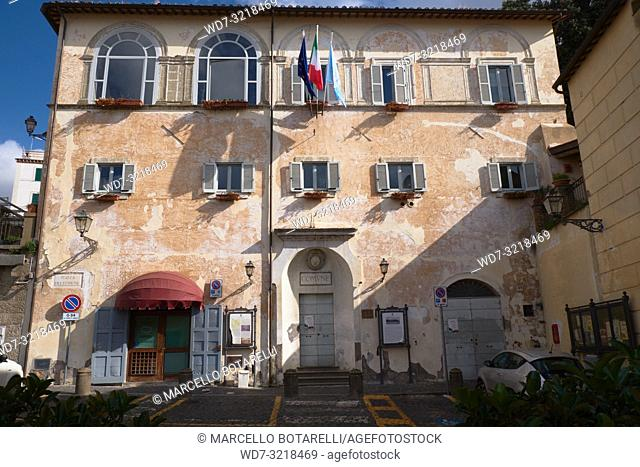 town hall building, seat of the city council, anguillara sabazia, lazio, italy