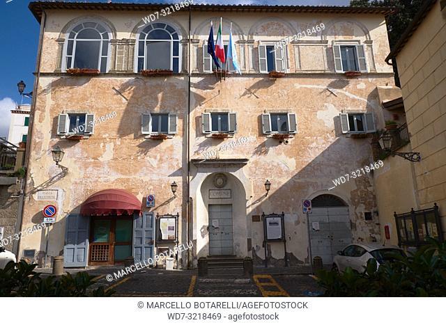 town hall building, seat of the city council, anguillara sabazia, lazio, italy