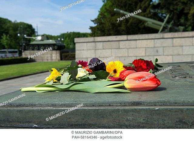 Flowers at the Soviet Memorial in Berlin, 8 May 2015. They commemorate the end of the war in Europe 70 years ago on 8 May 1945