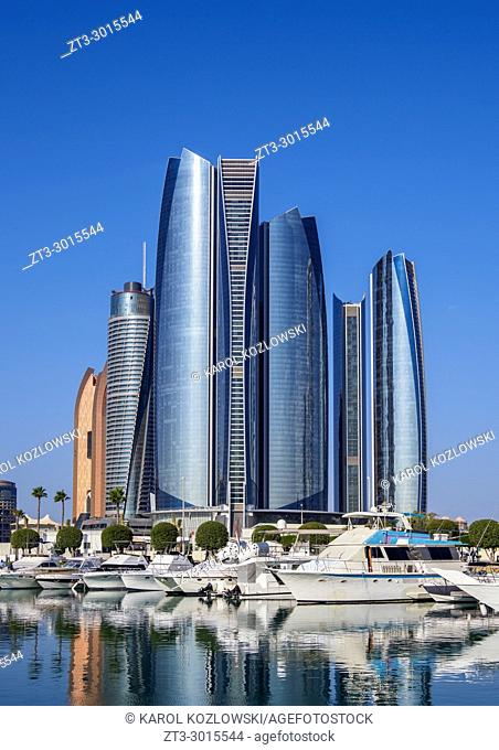 Skyline with Marina and Etihad Towers, Abu Dhabi, United Arab Emirates