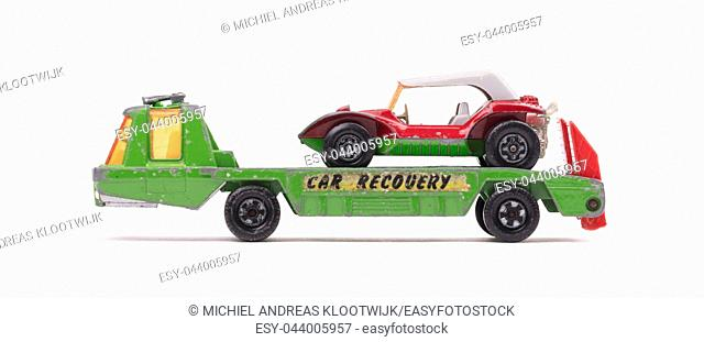 Pick up truck, car recovery, isolated on white