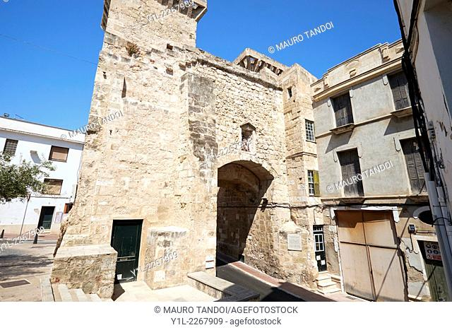 Old city gate, Carrer de Sant Roc, Mahón, Minorca, Balearic Islands, Spain