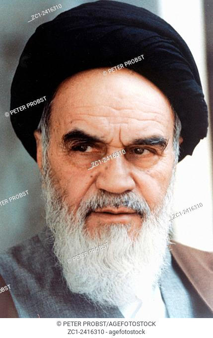 Ayatollah Ruhollah Khomeini 13.05.1900 - 03.06.1989: Portrait of the Leader of the Islamic revolution and founder of the Islamic Republic of Iran - Caution: For...