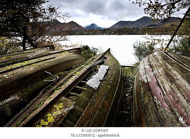 Upturned boats beside a lake