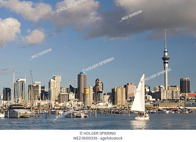 New Zealand, Auckland, Westhaven Marina, Skyline