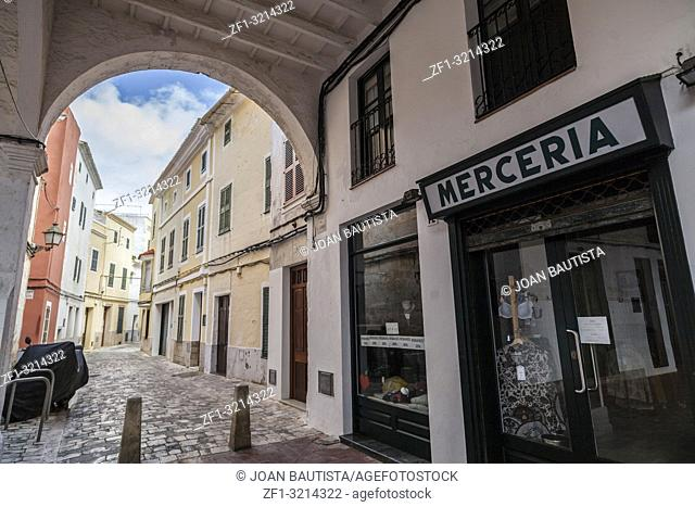 Ciutadella,Old arcades,public market,historic area,Menorca island,Balearic Islands