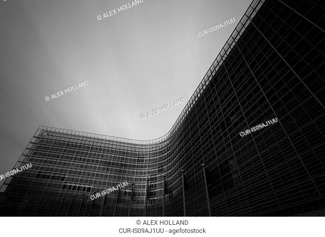 Black and white image of the Berlaymont office of the European Commission, Brussels, Belgium