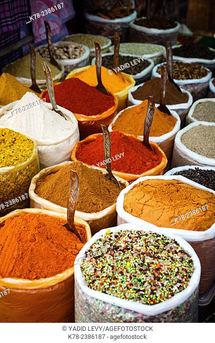 Spice stall at the Wednesday Flea Market in Anjuna, Goa, India