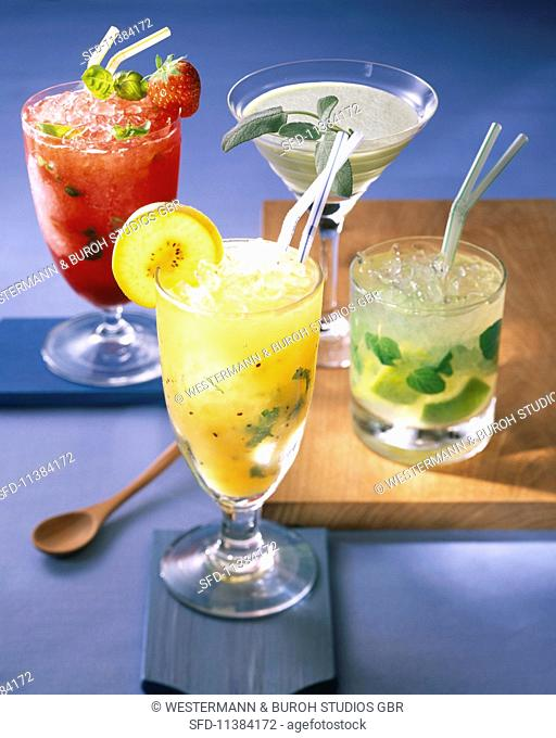 Four cocktails: Red Zora, Melosa, Yellow Mellow, Mojito
