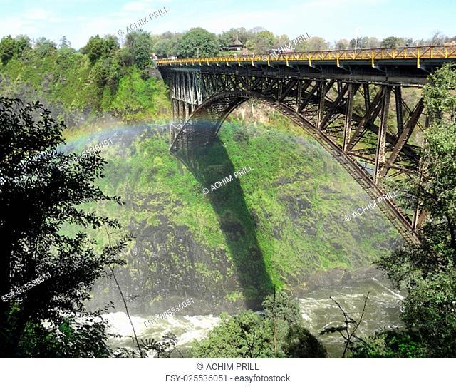 bridge at the victoria falls in zimbabwe,africa