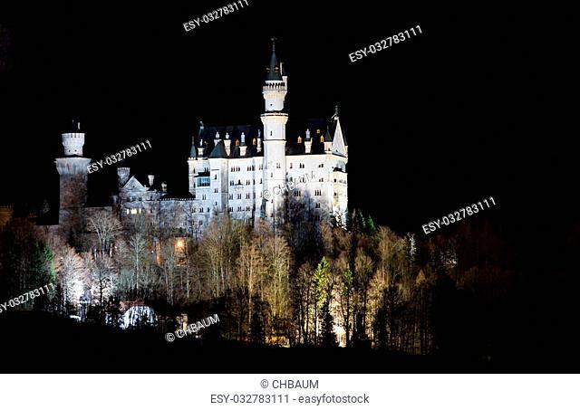 Neuschwanstein Castle, illuminated at night