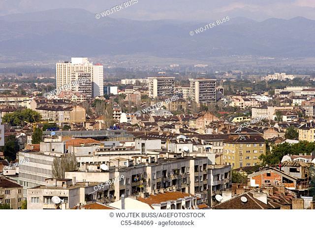 Panoramic view from Hotel Rodina, Sofia. Bulgaria
