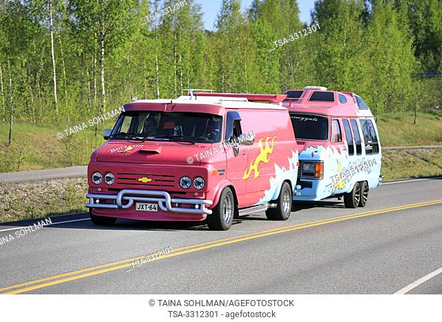 Salo, Finland. May 18, 2019. Colorful Chevy van 20 Bartvan with customised van converted into a camper on Salon Maisema Cruising 2019