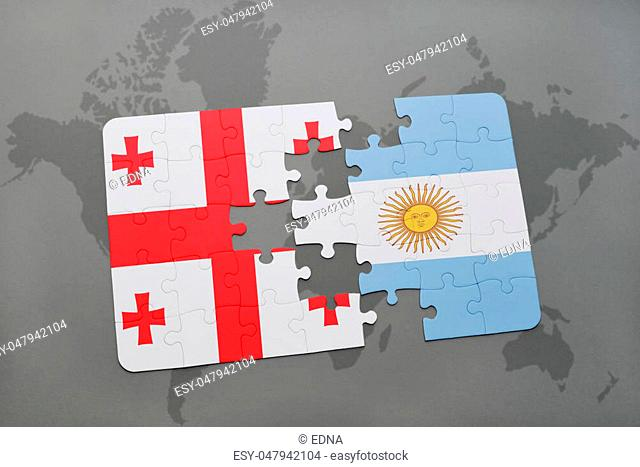 puzzle with the national flag of georgia and argentina on a world map background. 3D illustration