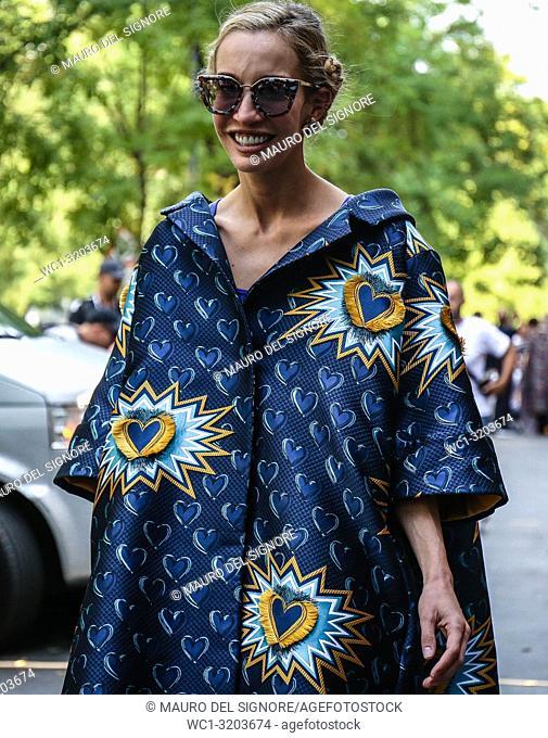 MILAN, Italy- September 20 2018: Micol Sabbadini on the street during the Milan Fashion Week