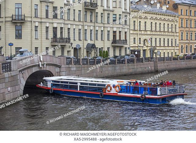 Tour Boat on the Moika River, St Petersburg, UNESCO World Heritage Site, Russia