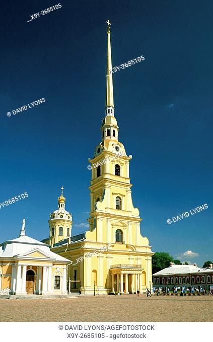 Saint Petersburg Russia. Saints Peter and Paul Cathedral inside the walls of Peter and Paul Fortress on Zayachy Island