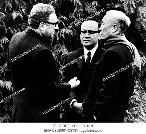 Henry Kissinger (left), U.S. National Security Advisor, and North Vietnam's Le Duc Tho. Nov. 23, 1972. Two months later, January 27, 1973