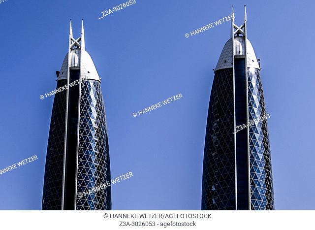 Modern architecture of Damac Properties at the WTC in Dubai, UAE