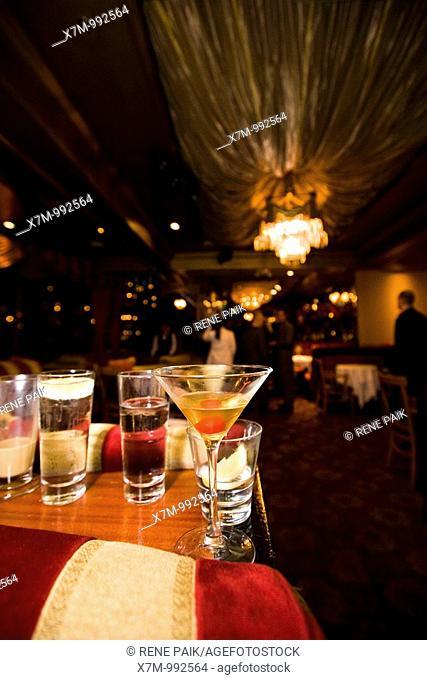 Half drunk cocktails in Harry Denton's Starlight Room in San Francisco, CA