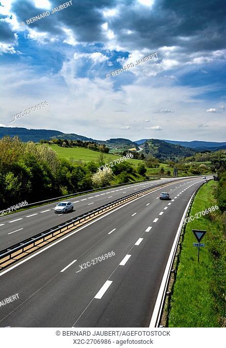 Highway A72 Clermont-Ferrand Lyon near Thiers. Puy de Dome. Auvergne. France