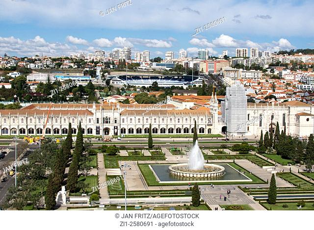 aerial view at fountain and jeronimo cathedral in lisboa portugal