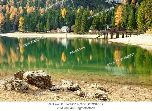 Autumn afternoon at Lake Braies (Pragser Wildsee), South Tyrol, Italy