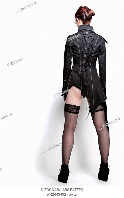 Young woman in a designer jacket