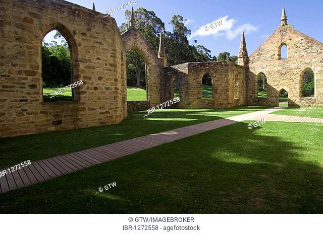 Port Arthur penal colony, church, Tasmania, Australia
