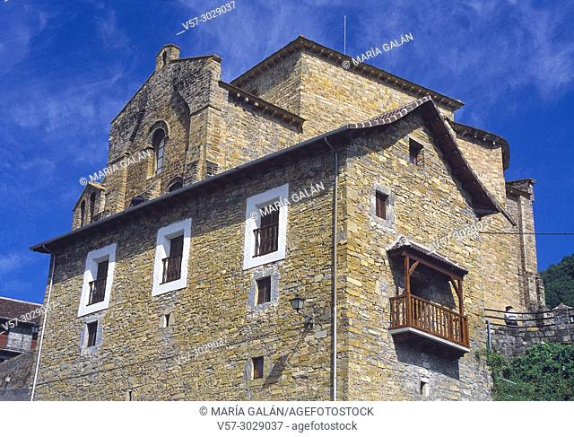 Facade of house and San Pedro church. Siresa, Huesca province, Aragon, Spain