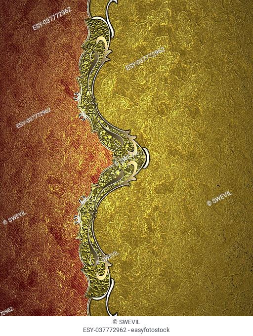 Element for design. Template for design. Red Gold design element with gold ornaments on a yellow background