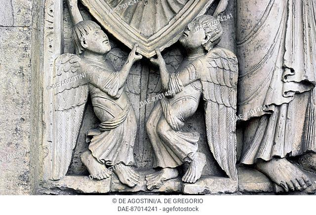 Angels, detail from the Stories of Genesis (ca 1099), marble bas-relief of Wiligelmo (11th-12th century), facade, Modena Cathedral (UNESCO World Heritage List
