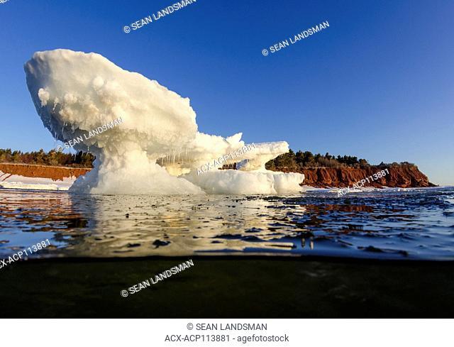 sea ice, iceberg, ocean, Gulf of St. Lawrence, North Rustico, Prince Edward Island National Park, Prince Edward Island, Canada, underwater