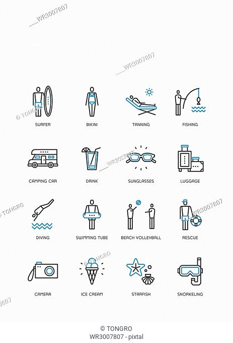 Set of various icons related to vacation