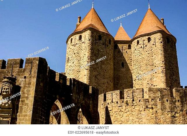 Outside walls of Porte Narbonnaise at Carcassonne in France
