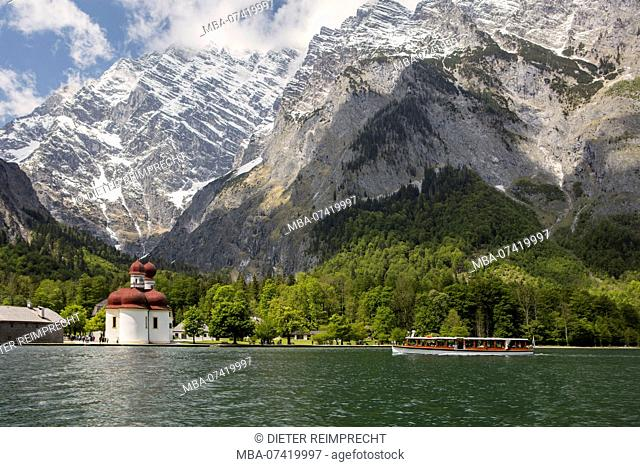 Pier St. Bartholomä am Königssee, at Berchtesgaden, Upper Bavaria, Bavaria, Germany