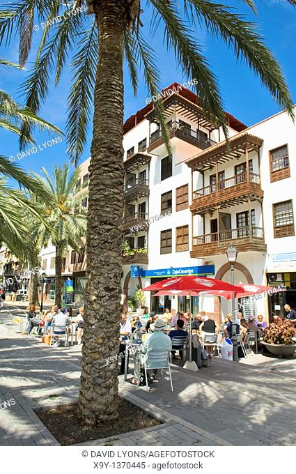 La Gomera, Canary Islands  Apartments and street cafes at the bottom of Calle Trasero in San Sebastian city centre