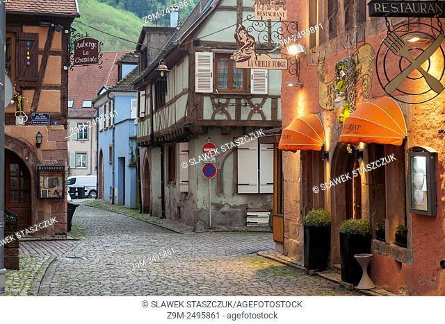 Evening in the village of Kaysersberg, Alsace, France