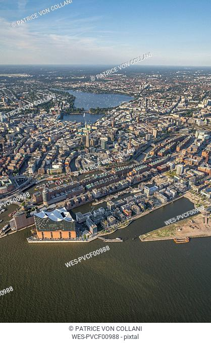 Germany, Hamburg, aerial view of the city