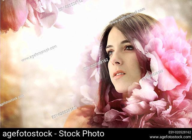 Beautiful Girl in Elegant Flower Background