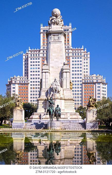 Monumento a Cervantes in Plaza de España. Madrid, Spain