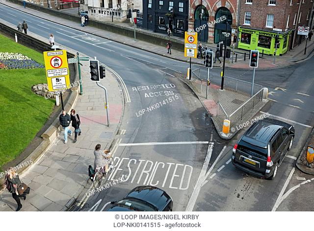 Traffic enforcement cameras controlling access over city centre bridge during a 6 month trial period