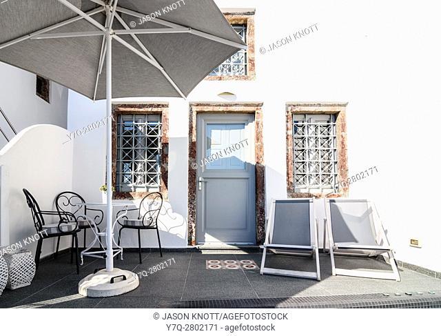 Cycladic house facade in Imerovigli, Santorini, Cyclades, Greece