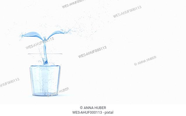 3D Rendering, plant of water in glass
