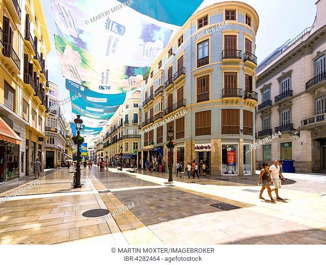 Calle Molina Lario, shopping street, pedestrian area, Málaga, Costa del Sol, Andalucía, Spain