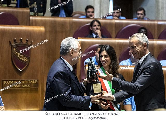 President of S.S. Lazio Claudio Lotito, Mayor of Rome Virginia Raggi during the prizegiving at Campidoglio Palace, Rome, ITALY-10-07-2019