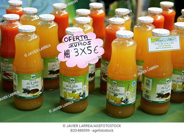 Organic fruit juices stand, Bioterra (Organic products, bioconstruction, renewables energies, and efficient consumption fair), Ficoba, Irun, Guipuzcoa
