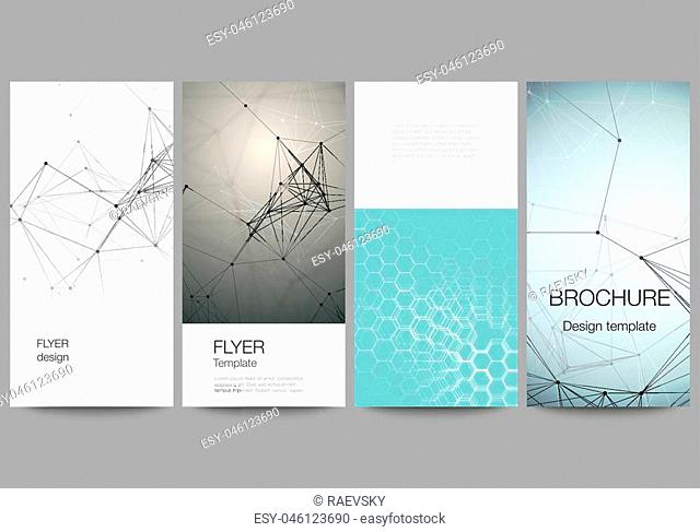 The abstract vector layout of four modern vertical banners, flyers design business templates. Technology, science, medical concept